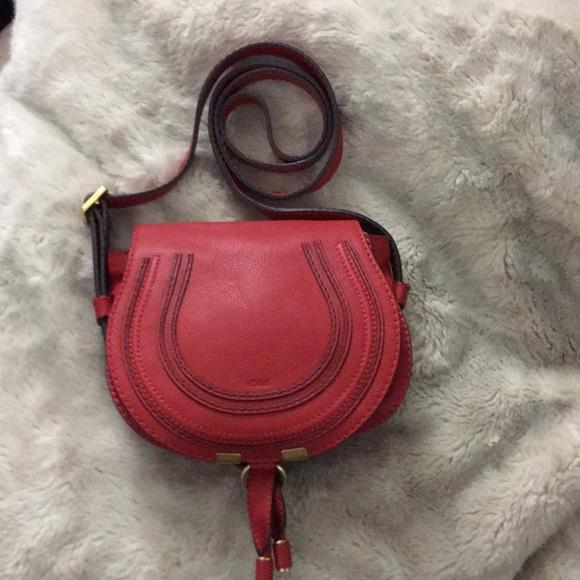f0a9fbc1c0 Chloe Bags   Red Small Marcie Leather Saddle Crossbody   Poshmark